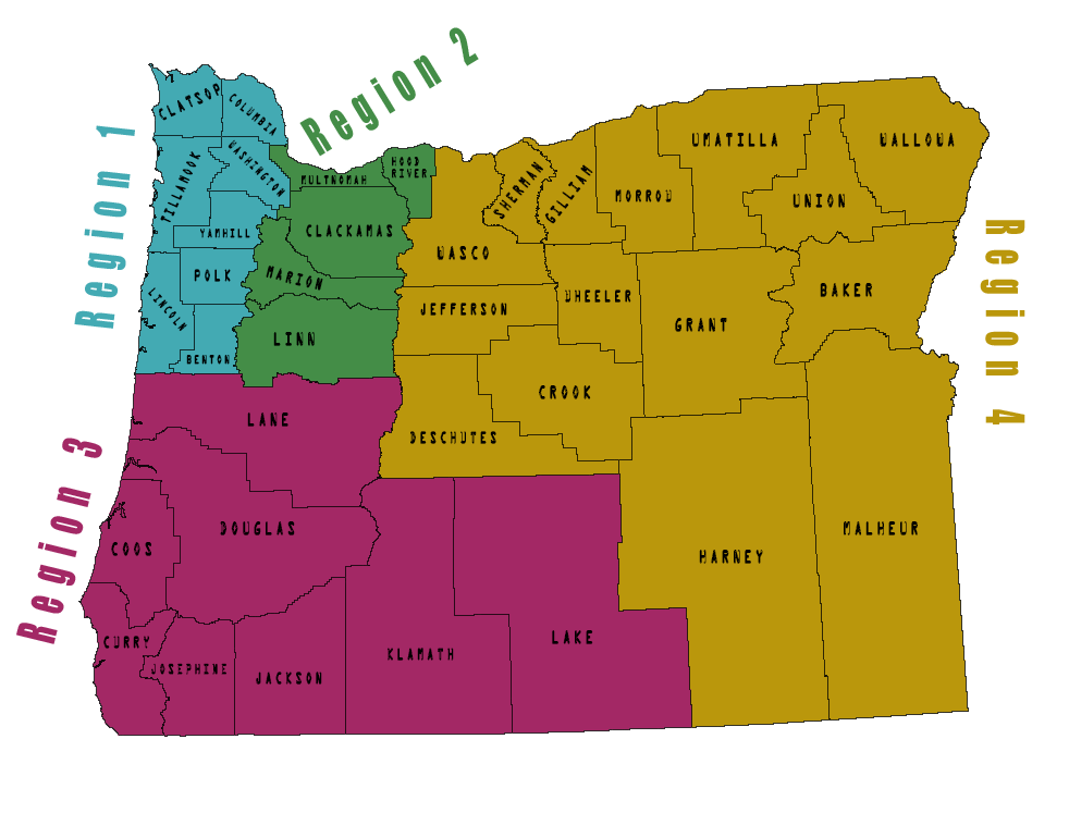 Map of Oregon Counties with OSHA regions in different colors